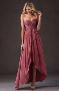 Sweetheart High-low Criss cross Bridesmaid Dress With Pleats
