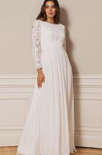 Modest Bateau A Line Chiffon Lace Floor-length Low-V Back Wedding Dress