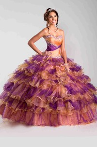 Sweetheart Ruffled Ruching Strapless Lace-Up Back Ball Gown