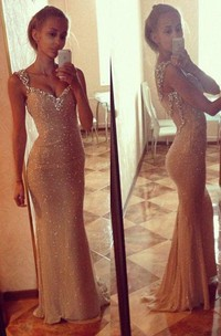 Sequins Sexy Mermaid Prom Dress With Crystals Straps