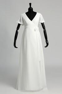 V-neck Short Sleeve Empire Pleats Sash Ribbon Wedding Dress