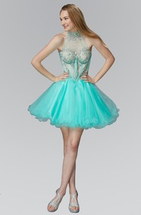 A-Line Illusion Jeweled Ruffled Short Mini Sleeveless High-Neck Tulle Dress
