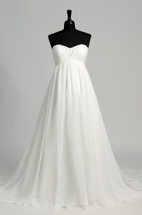 A-line Chiffon Sweetheart Court Train Sleeveless Maternity Wedding Dress with Beading and Ruching