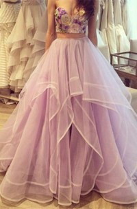 Sweetheart Two-Pieces Formal Floral Beautiful Tulle Dress
