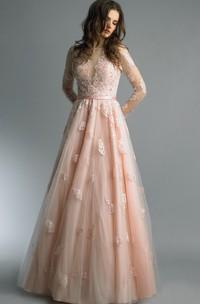 High-Neckline Tulle Floor-Length A-Line Zipper Long-Sleeve Dress