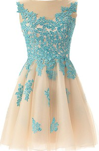 Tulle Lace Appliqued A-Line Magical Short Gown