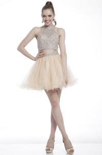 2-Piece Ruffled Beaded A-Line Short Jewel-Neck Mini Sleeveless Dress