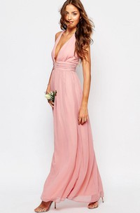 Plunged Sleeveless Chiffon Ankle-length Dress With Zipper