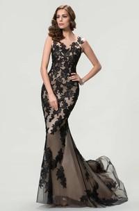 Mermaid Sweep Train Bateau Sleeveless Lace Dress with Pleats