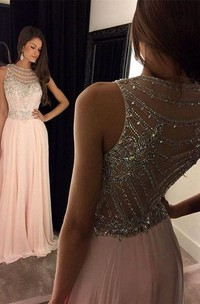 A-Line Illusion Long Crystals Newest Gown