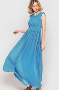Scoop-neck Cap-sleeve Pleated Ankle-length Dress With bow