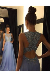 Sleeveless Long Chiffon Party Lace Beautiful Gown