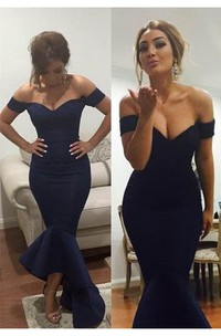 Sexy Off-the-shoulder Hi-Lo Mermaid Prom Dress With Ruffles