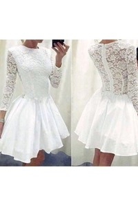 3 4 Length Sleeve A-line Short Mini High Neck Ruching Ruffles Chiffon Lace Homecoming Dress