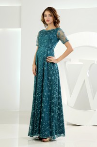 Long Embroideries Short-Sleeve Refined Dress