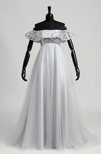 Off-the-shoulder Short Sleeve Empire Beading Ruffles Dress