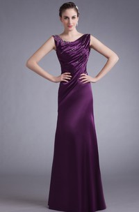 Sleeveless Satin Floor-Length Gown with Stress