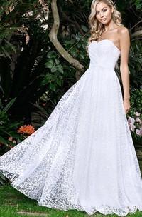 Elegant A Line Sweetheart Lace Floor-length Sleeveless Open Back Zipper Wedding Dress with Ruching