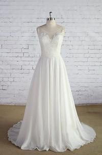A-Line Lace Bodice Sleeveless Scoop-Neckline Wedding Dress