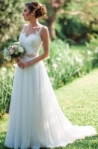 Elegant Sleeveless A Line Chiffon and Lace Straps Floor-length Brush Train Wedding Dress