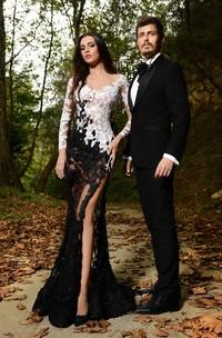 Mermaid Front-Slit Black White Lace Sassy Dress