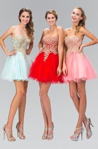 A-Line Jeweled Short Mini Strapless Sweetheart Sleeveless Dress