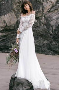 Bohemian Long Sleeve A Line Lace Tulle Off-the-shoulder Wedding Dress with Sweep Train