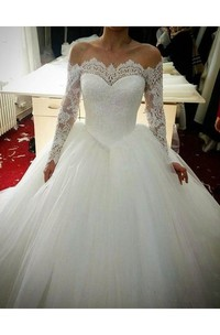 Off-the-shoulder Lace Tulle Illusion Long Sleeve Wedding Dress