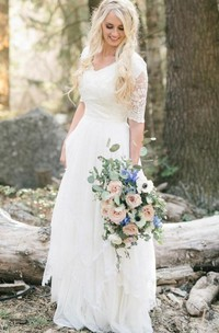 V-neck Chiffon Lace Illusion Half Sleeve Wedding Dress