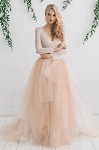 Tulle Satin Tiers Zipper Wedding Dress