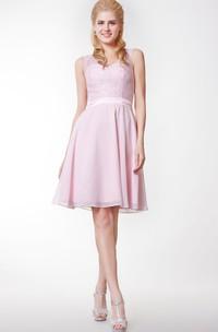 Lace V-Neckline Short Chiffon Bridesmaid Dress