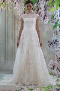 A-Line Illusion Inspire Cap-Sleeve Lace High-Neckline Gown