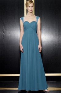 Queen-Anne Zipper Back Formal Beading Long A-Line Chiffon Dress