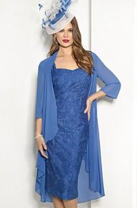 Pencil Appliqued short Dress With Chiffon Draped cape