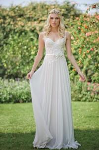 Bridal Jewel Floral Lace-Up Back Lace Chiffon Dress