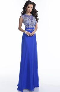Jewel-Neck Sleeveless Jersey Dress With Beading And Illusion