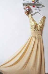 Plunged Sleeveless Chiffon Dress With Sequined top