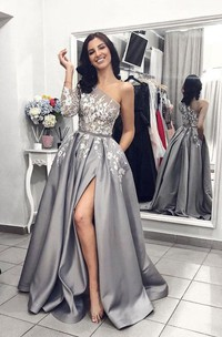 One Shoulder Split Front A-line Satin Gown With Floral Appliques And Sash
