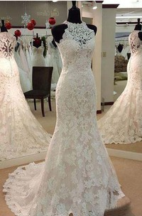 High Neck Lace  Sleeveless Wedding Dress