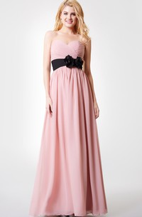 Backless Ruched Chiffon Floral Sleeveless Long A-Line Dress