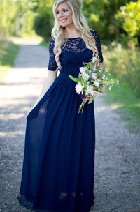 A-Line Lace Scoop-Neckline Short-Sleeved Chiffon Dress