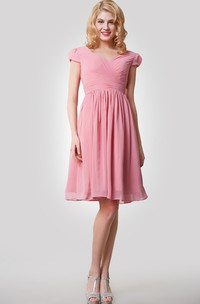 Chiffon Cap Sleeves Pleats A-Line Knee-Length Dress