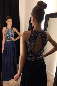 Sleeveless Long Chiffon Jewels Navy Sparkly Dress