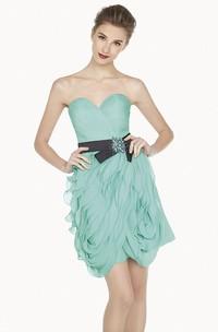Sweetheart Sheath Mini Prom Dress With Floral Sash And Ruffles