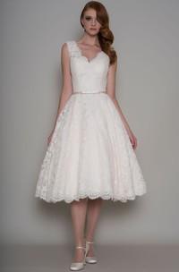 Plunged Lace Sleeveless Tea-length Wedding Dress With Illusion back
