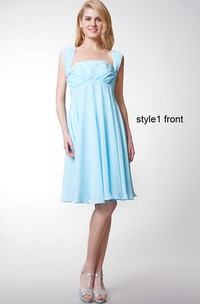Chiffon Convertible Strapped Pleated Sleeveless Gown