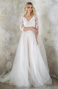 V-Neck 3-4 Length Sleeve Tulle Sequins Satin Beaded Lace Wedding Dress