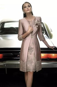 A-line 3-4 Length Sleeve Knee-length Jewel Satin Mother of the Bride Dress with Zipper Back