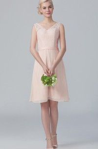 Lace Top Cap-Sleeved Midi-Length Dress