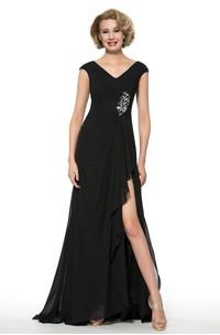Elegant Chiffon V-Neck Cap Sleeve Long Dress with Front Split